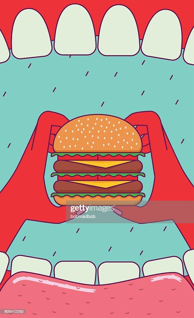 Eating big burger.