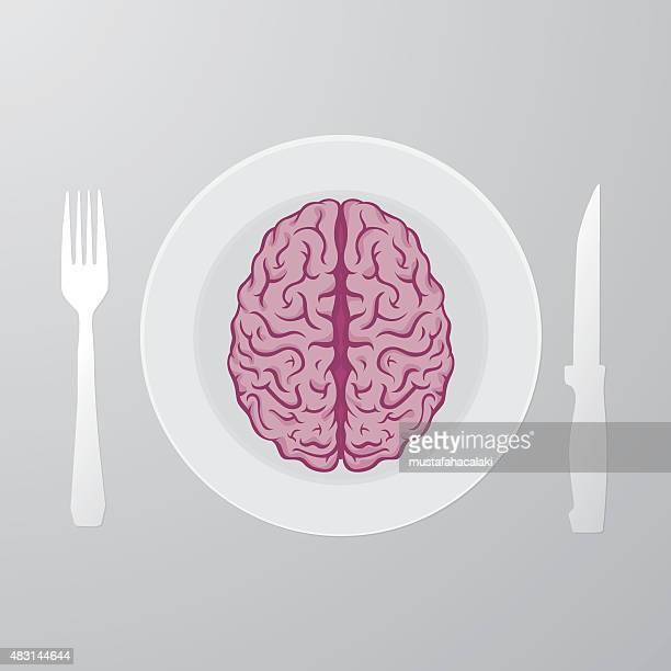 eating brain - cerebral hemisphere stock illustrations, clip art, cartoons, & icons