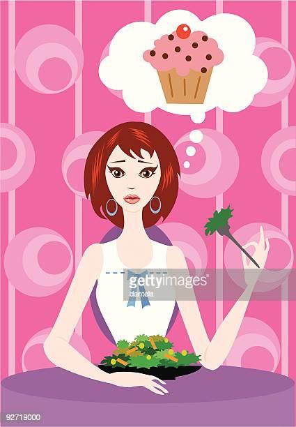 eating salad thinking cake - body conscious stock illustrations, clip art, cartoons, & icons