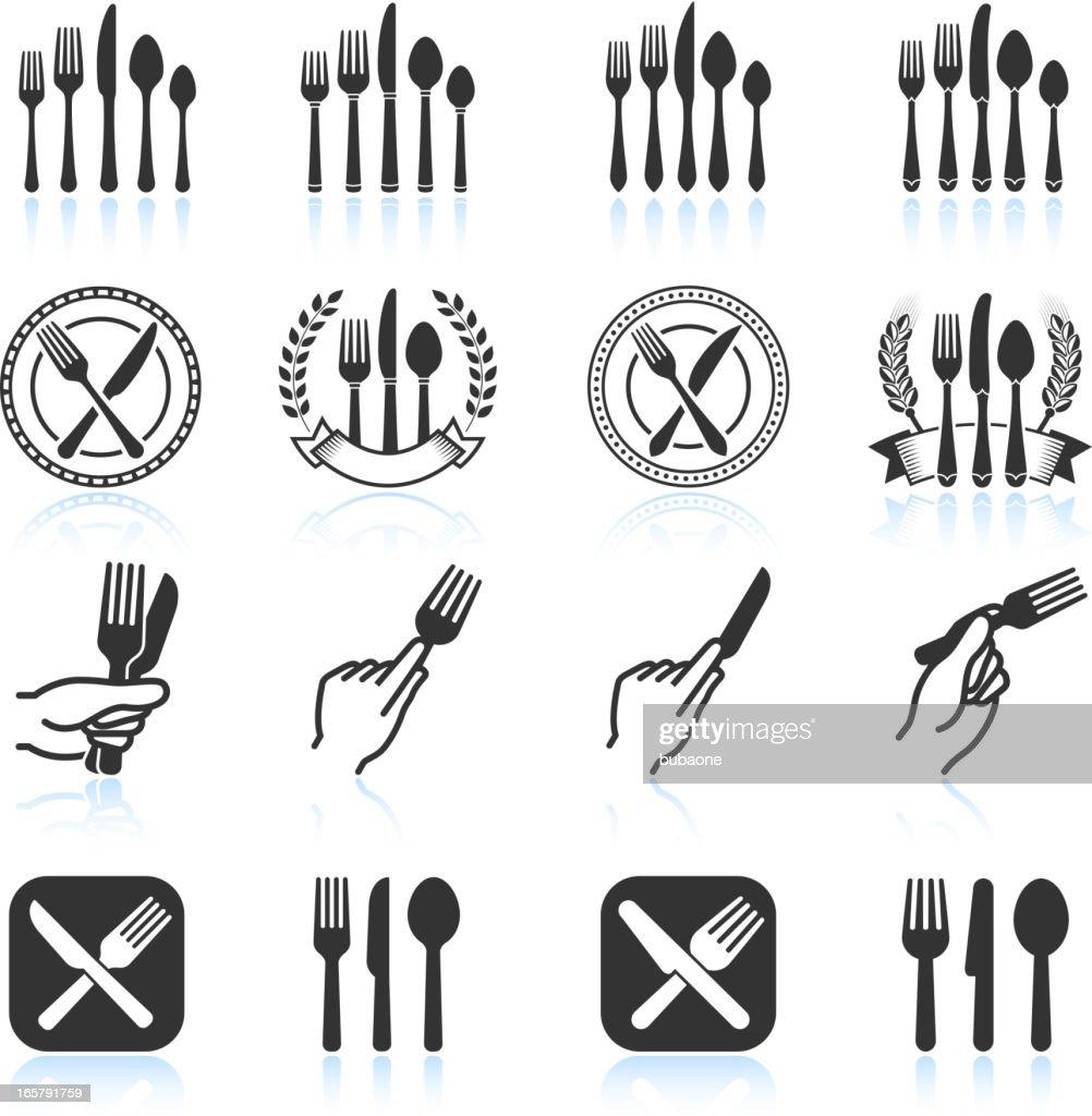 Eating Utensils Black White Royalty Free Vector Icon Set