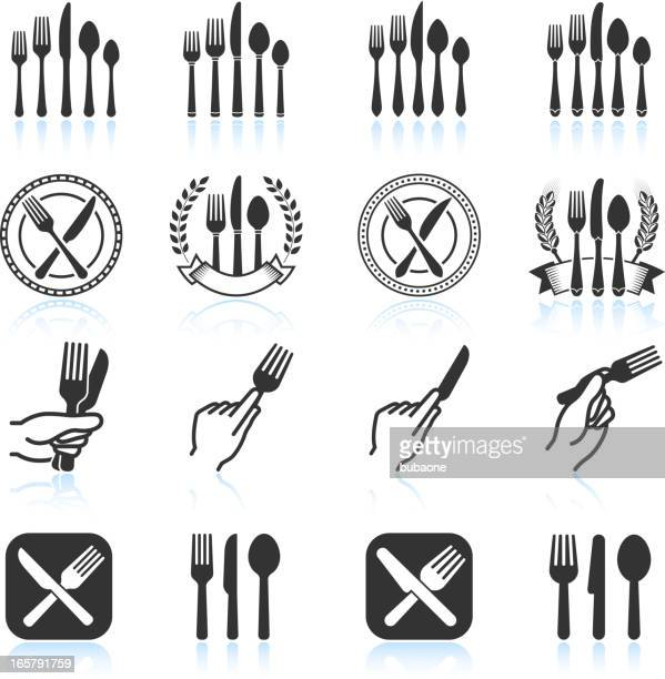 eating utensils black & white royalty free vector icon set - social grace stock illustrations
