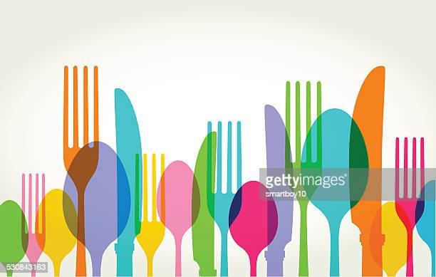 eating utensils - kitchen utensil stock illustrations