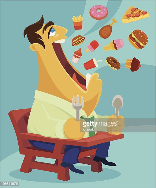 eating - unhealthy eating stock illustrations