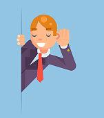 Eavesdropping Listen Overhear Spy Out Corner Cartoon Businessman Character Flat