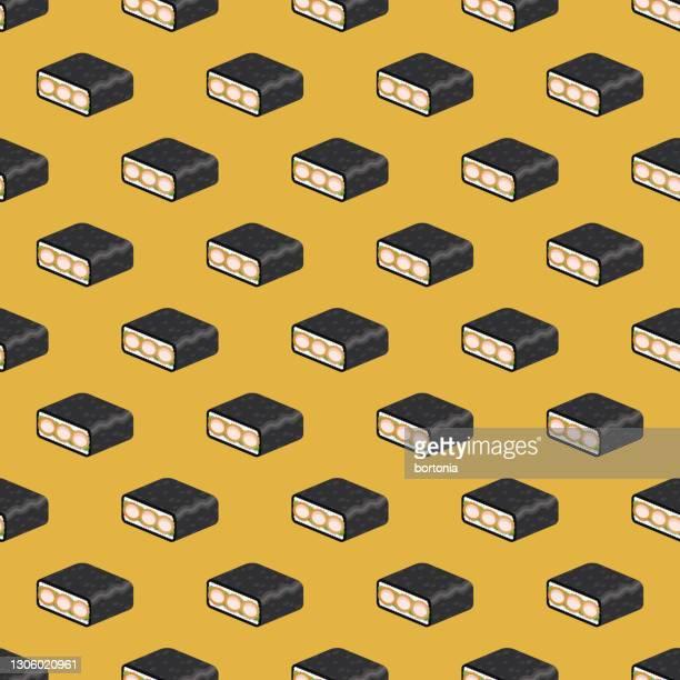 ebi katsu onigirazu japanese sandwich pattern - tenkasu stock illustrations