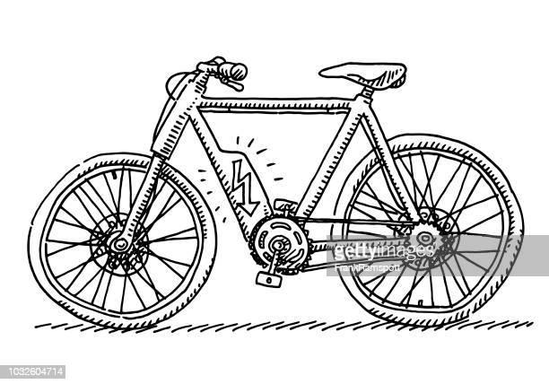 e-bike fahrrad seitenansicht zeichnung - frankramspott stock-grafiken, -clipart, -cartoons und -symbole