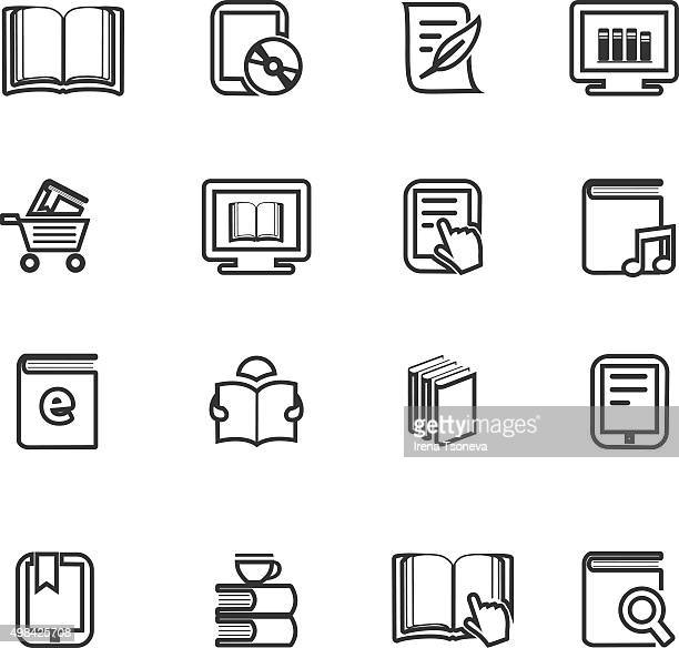 ebook and literature icons - exercise book stock illustrations