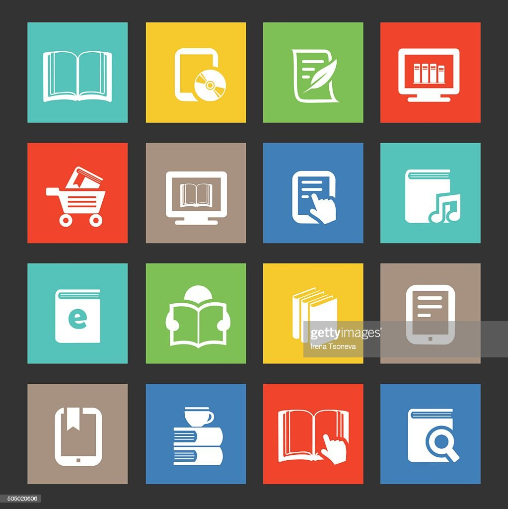 Ebook and Literature Icons : stock illustration