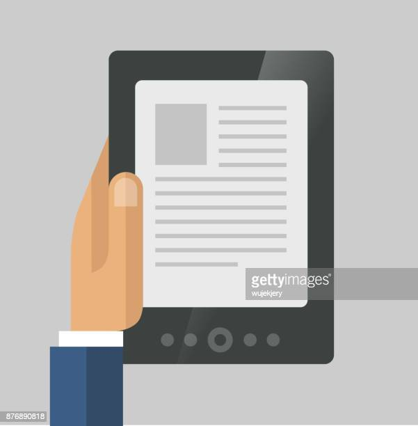 e-book, e-reader dans illustration de concept de main