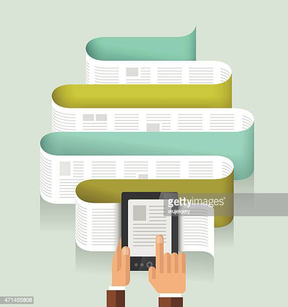 e-book, e-reader in human hands - illustration