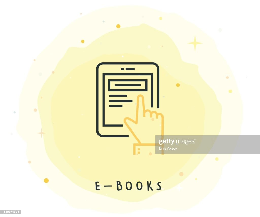 E-Book Icon with Watercolor Patch : stock illustration