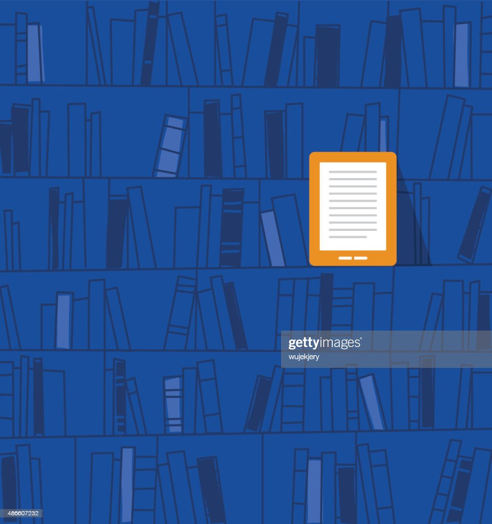 Ebook on the shelf. Vector illustration
