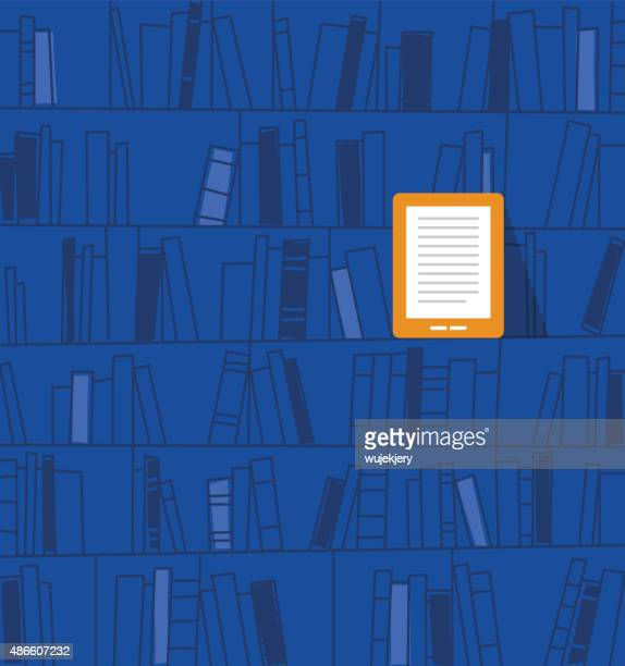 ebook on the shelf. vector illustration - library stock illustrations
