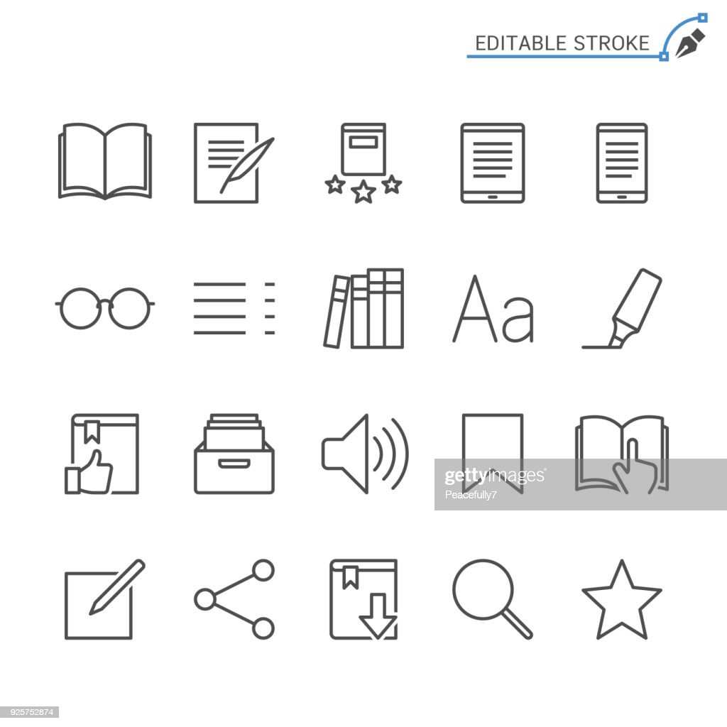 E-book reader line icons. Editable stroke. Pixel perfect.