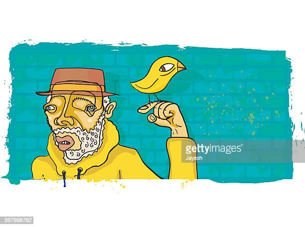 illustrations, cliparts, dessins animés et icônes de eccentric bearded man in hoodie with bird on finger - personnage bd