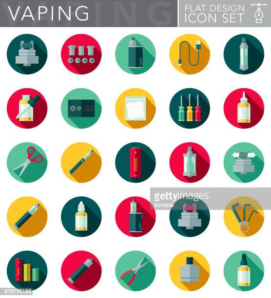 e-cigarette & vaping flat design icon set with side shadow - electronic cigarette stock illustrations, clip art, cartoons, & icons