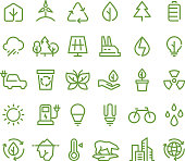 Eco and green environment vector line icons. Ecology and recycling outline symbols
