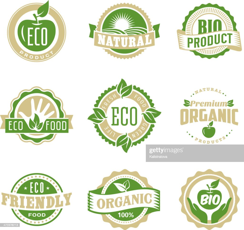 Eco bio green stamp label set