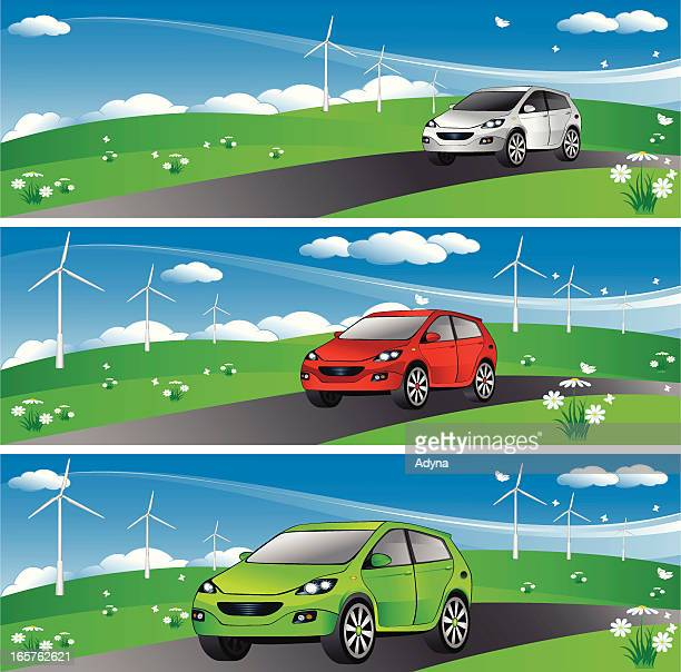 eco car banner - compact car stock illustrations, clip art, cartoons, & icons