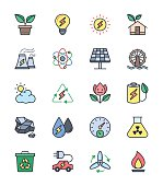 Eco Energy and Power icons, Color set - Vector Illustration