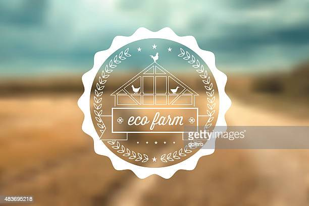 eco farm label on blurred grain field