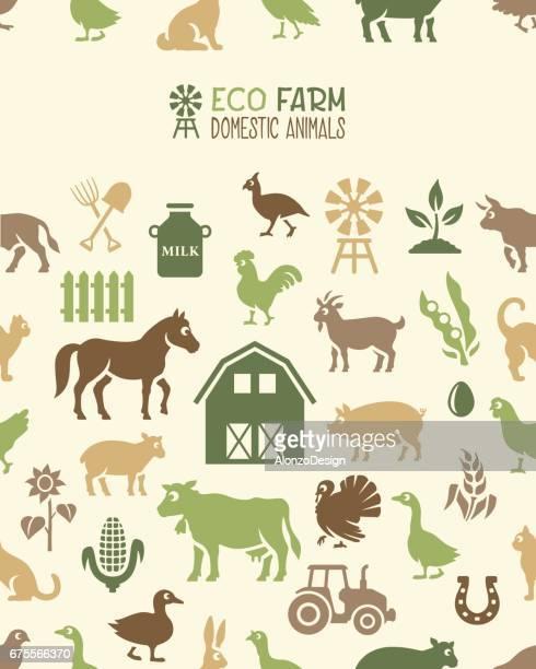 eco farm seamless pattern - bran stock illustrations, clip art, cartoons, & icons