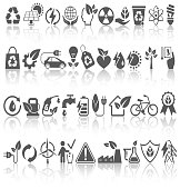 Eco Friendly Bio Green Energy Sources Black Icons Signs Set