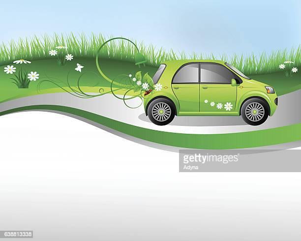 eco friendly car - electric car stock illustrations, clip art, cartoons, & icons