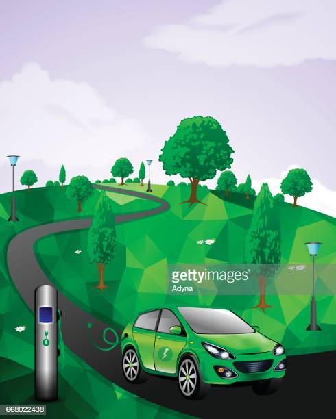 eco friendly car - electric vehicle charging station stock illustrations