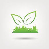 Eco friendly concept with Green city logo