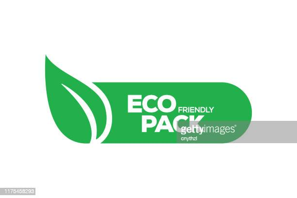 eco friendly pack badge - packaging stock illustrations