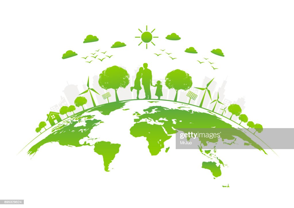 Eco friendly with green city on earth, vector illustration