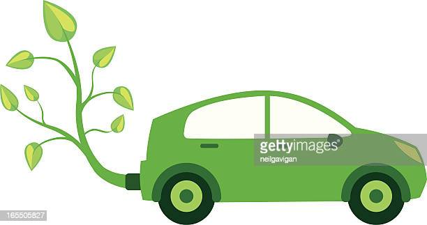 eco green bio car - compact car stock illustrations, clip art, cartoons, & icons