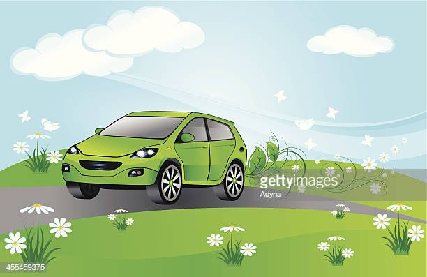 eco green car - compact car stock illustrations, clip art, cartoons, & icons