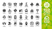 Eco green city glyph icon set with ecology town infrastructure, nature environment building, renewable energy, recycle technology, urban tree save, solar and wind power, modern home and future house.