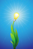 Eco green energy concept, plant with shining light bulb as renewable energy design