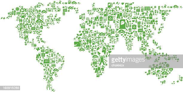 eco green icon world map montage