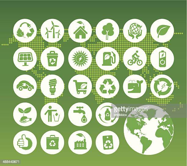 eco green icons on digital world map