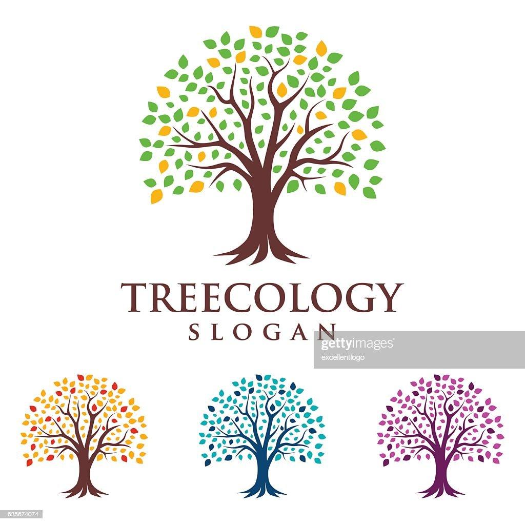 Eco green, tree vector logo design