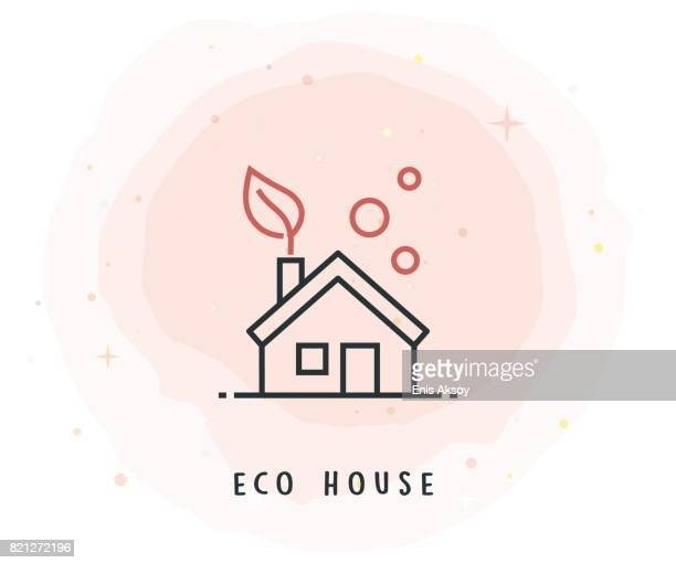 eco house icon with watercolor patch - energy efficient stock illustrations, clip art, cartoons, & icons