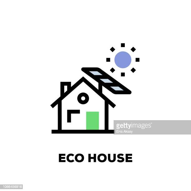 bildbanksillustrationer, clip art samt tecknat material och ikoner med eko hus linje-ikonen - solenergi