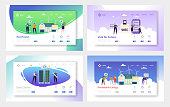 Eco House Renewable Energy Landing Page Set. Vote for Future and Build Home from Material and Technology that Reduce its Carbon Footrprint Website or Web Page. Flat Cartoon Vector Illustration