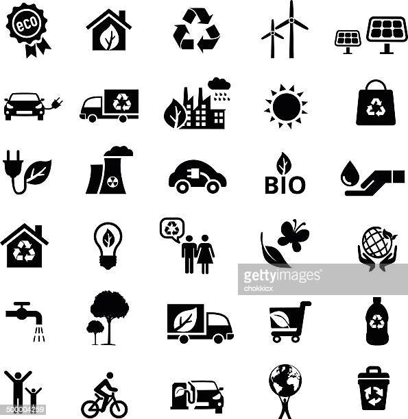 eco icon set in black and white