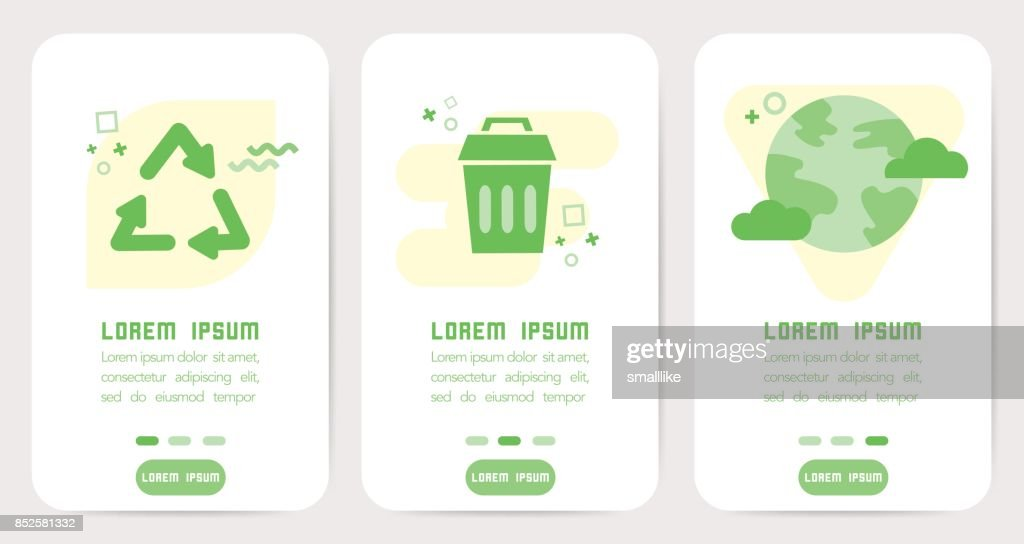 Eco icons design for mobile application, UX, UI, Banner
