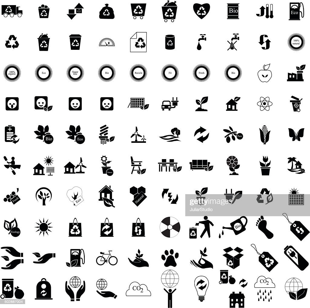 100 Eco icons set
