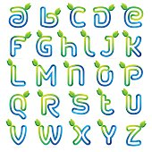 Eco letters set with green leaves and water waves.