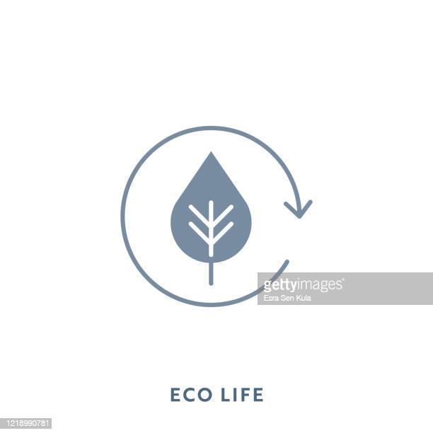 stockillustraties, clipart, cartoons en iconen met eco life mono kleur plat pictogram. pixel perfect. - koolstofvoetafdruk