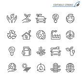 Eco line icons. Editable stroke. Pixel perfect.
