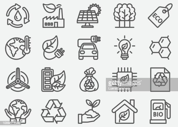 eco line icons - vitality stock illustrations