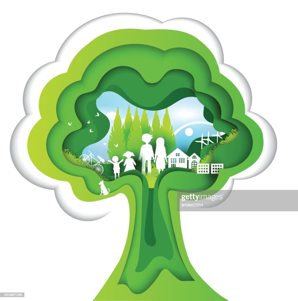 eco paper art design style, tree and family with nature